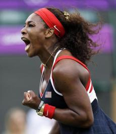 Serena Williams of the United States celebrated after breaking the serve of Caroline Wozniacki of Denmark.